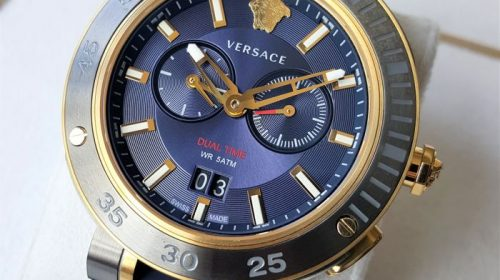 Versace – Swiss Made V-Extreme Pro Dual Time Sapphire Gold – Men – 2018 – New