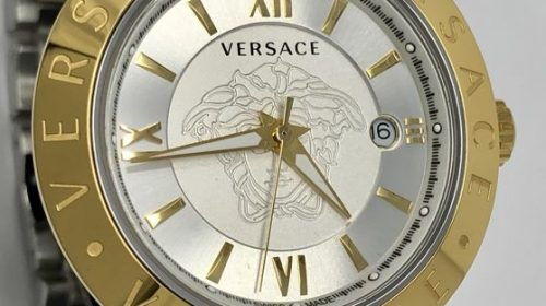 Versace – V- Race 42 mm Two Tone strap Gold and Silver Dial – VCL110017 – Men – New